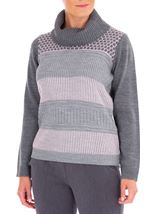 Anna Rose Cowl Neck Knit Top Grey/Dusty Pink - Gallery Image 1