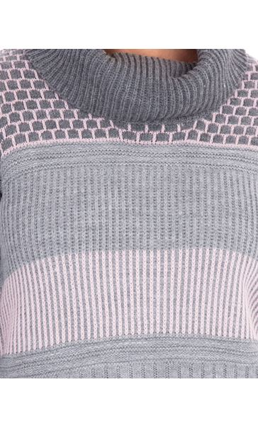 Anna Rose Cowl Neck Knit Top Grey/Dusty Pink - Gallery Image 3