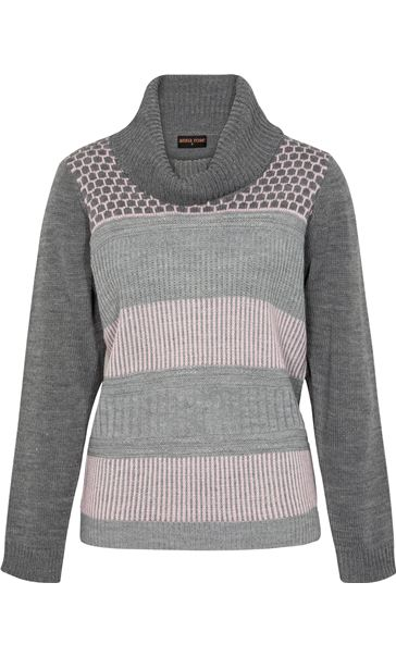 Anna Rose Cowl Neck Knit Top Grey/Dusty Pink - Gallery Image 4