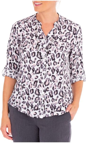 Anna Rose Animal Print Blouse With Necklace Multi