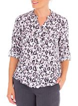 Anna Rose Animal Print Blouse With Necklace Ivory/Black/Dusty Pinks - Gallery Image 1