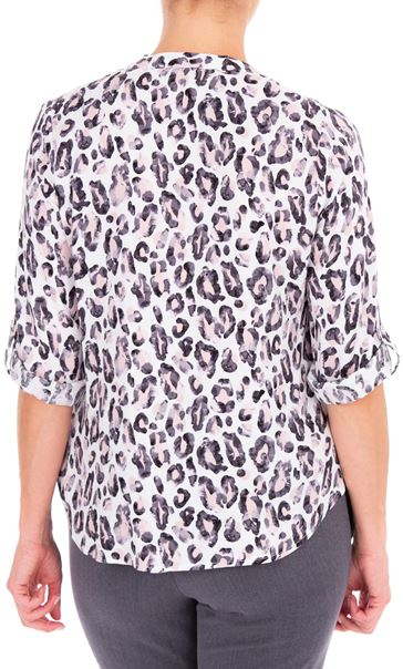 Anna Rose Animal Print Blouse With Necklace Multi - Gallery Image 2