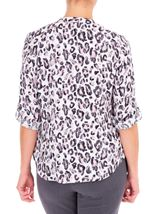 Anna Rose Animal Print Blouse With Necklace Ivory/Black/Dusty Pinks - Gallery Image 2