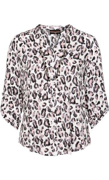 Anna Rose Animal Print Blouse With Necklace Multi - Gallery Image 4