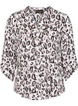 Anna Rose Animal Print Blouse With Necklace Ivory/Black/Dusty Pinks - Gallery Image 4
