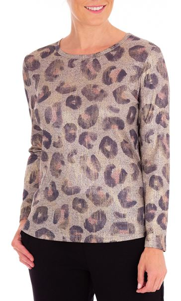 Anna Rose Animal Print Knitted Top Dusty Pink/Multi