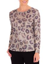 Anna Rose Animal Print Knitted Top Dusty Pink/Multi - Gallery Image 1