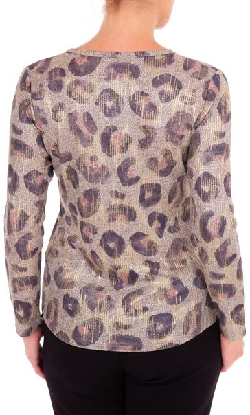Anna Rose Animal Print Knitted Top Dusty Pink/Multi - Gallery Image 2