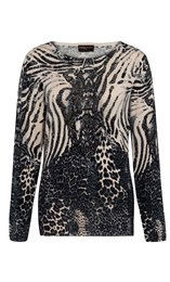 Anna Rose Animal Print Knit Top Black/White - Gallery Image 4