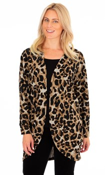 Animal Printed Brushed Knit Cover Up