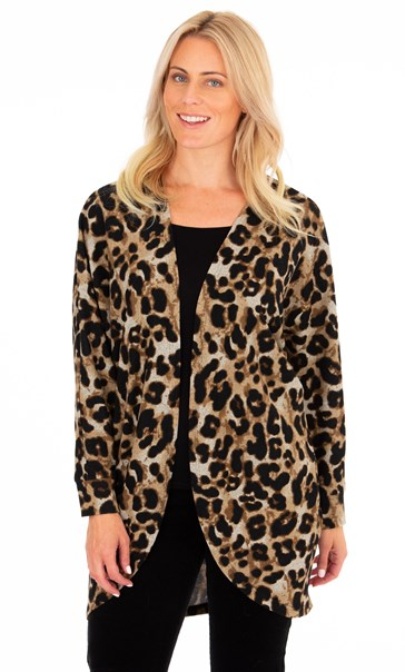 Animal Printed Brushed Knit Cover Up Beige/Brown - Gallery Image 2