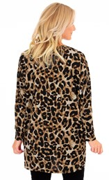 Animal Printed Brushed Knit Cover Up Beige/Brown - Gallery Image 1