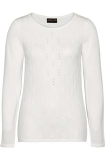 Anna Rose Cable Design Knit Top - Ivory