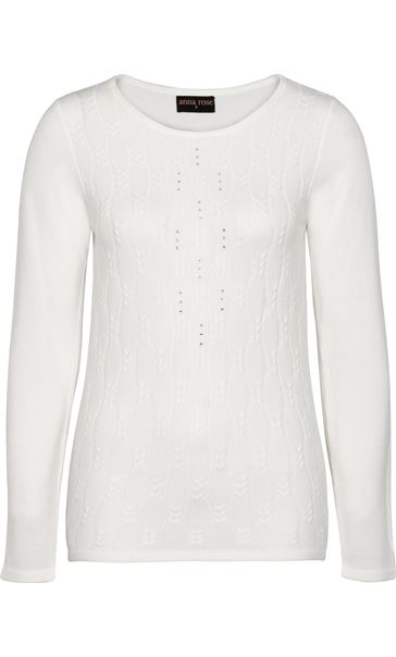 Anna Rose Cable Design Knit Top Ivory