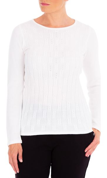 Anna Rose Cable Design Knit Top Ivory - Gallery Image 2