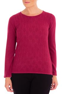 Anna Rose Cable Design Knit Top - Magenta