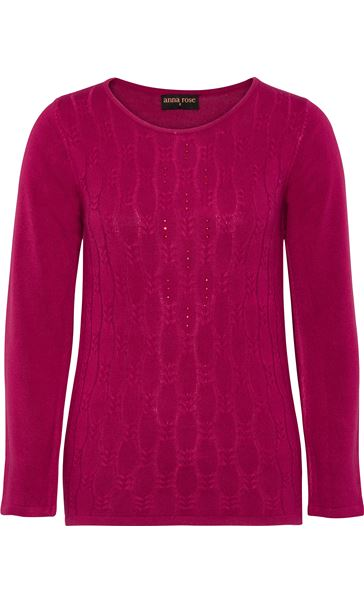 Anna Rose Cable Design Knit Top Magenta