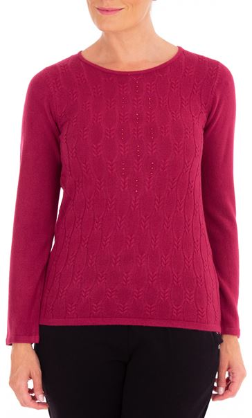 Anna Rose Cable Design Knit Top Magenta - Gallery Image 2