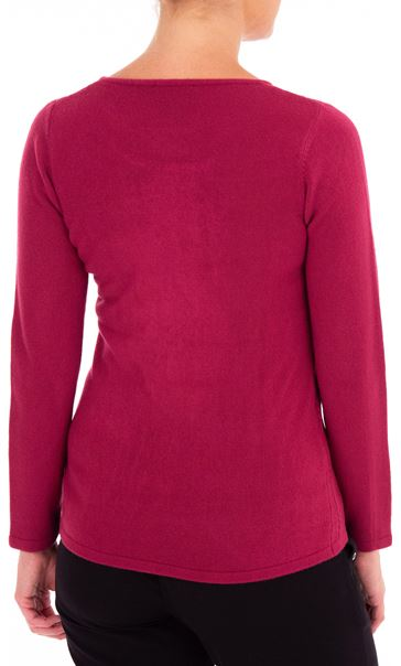 Anna Rose Cable Design Knit Top Magenta - Gallery Image 3