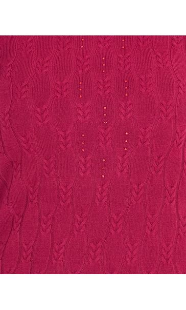 Anna Rose Cable Design Knit Top Magenta - Gallery Image 4