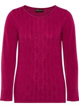 Anna Rose Cable Design Knit Top Magenta - Gallery Image 1