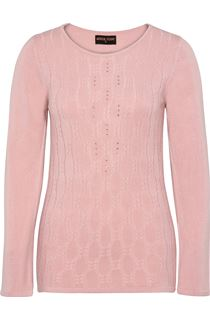 Anna Rose Cable Design Knit Top - Dusty Pink