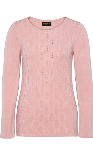 Anna Rose Cable Design Knit Top Dusty Pink