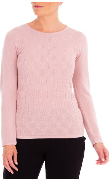 Anna Rose Cable Design Knit Top Dusty Pink - Gallery Image 2