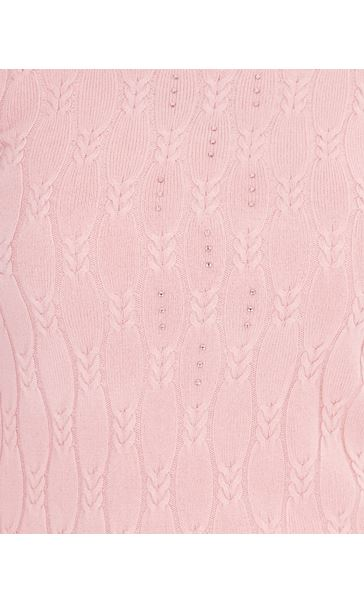 Anna Rose Cable Design Knit Top Dusty Pink - Gallery Image 4