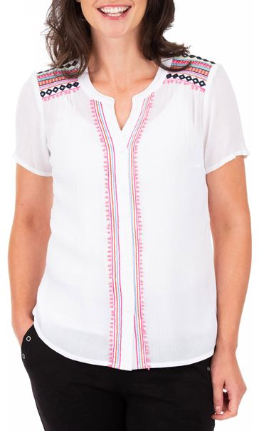 Anna Rose Embroidered Short Sleeve Blouse