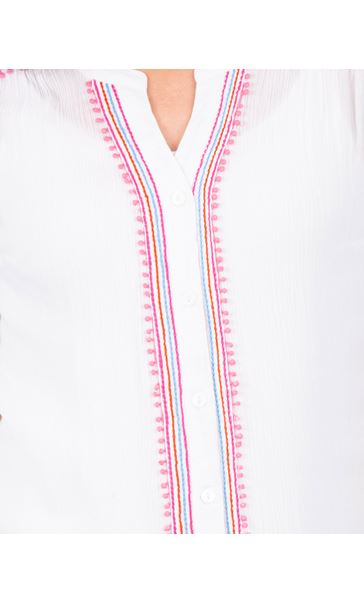 Anna Rose Embroidered Short Sleeve Blouse White - Gallery Image 3