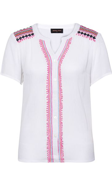 Anna Rose Embroidered Short Sleeve Blouse White - Gallery Image 4