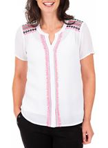 Anna Rose Embroidered Short Sleeve Blouse White - Gallery Image 1