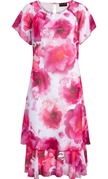 Anna Rose Bias Cut Floral Printed Midi Dress Hot Pink