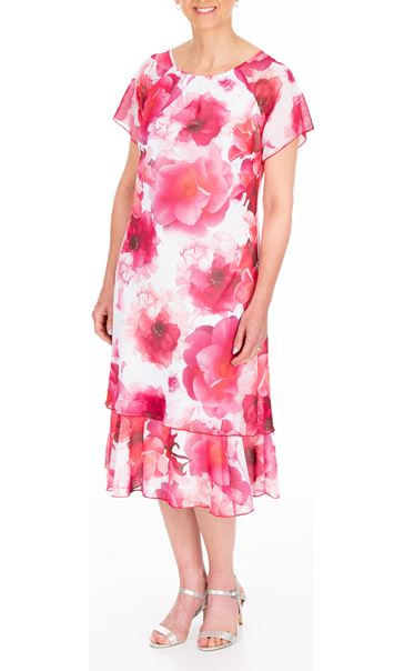 Anna Rose Bias Cut Floral Printed Midi Dress Hot Pink - Gallery Image 2