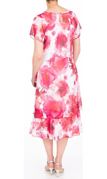 Anna Rose Bias Cut Floral Printed Midi Dress Hot Pink - Gallery Image 3