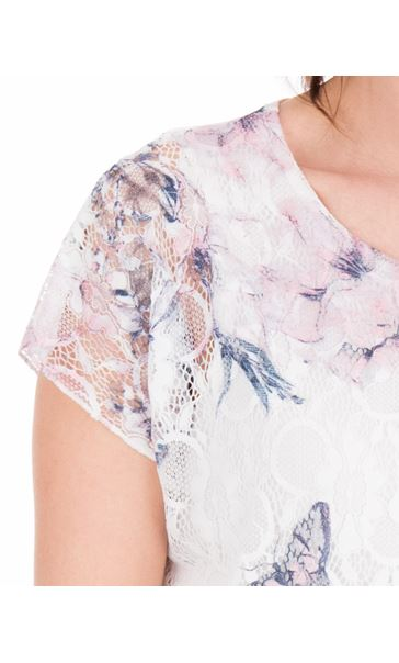 Anna Rose Printed Lace Top White/Pink - Gallery Image 3