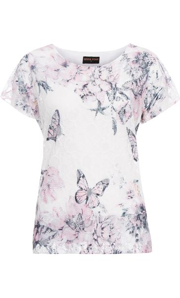 Anna Rose Printed Lace Top White/Pink - Gallery Image 4