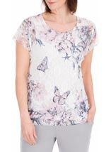 Anna Rose Printed Lace Top White/Pink - Gallery Image 1