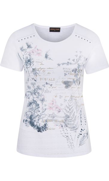 Anna Rose Script And Floral Print Top White/Pink/Blue