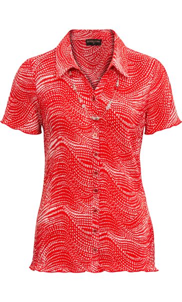 Anna Rose Pleated Blouse With Necklace - Red