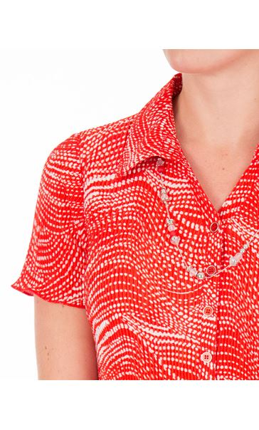 Anna Rose Pleated Blouse With Necklace Red - Gallery Image 4