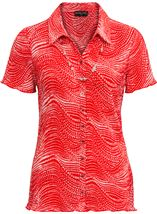 Anna Rose Pleated Blouse With Necklace Red - Gallery Image 1