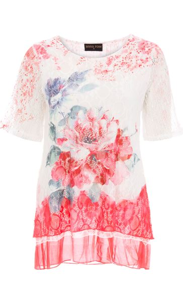Anna Rose Short Sleeve Lace Layered Top Red Multi