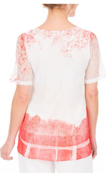 Anna Rose Short Sleeve Lace Layered Top Red Multi - Gallery Image 3