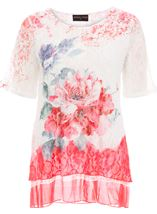 Anna Rose Short Sleeve Lace Layered Top Red Multi - Gallery Image 1