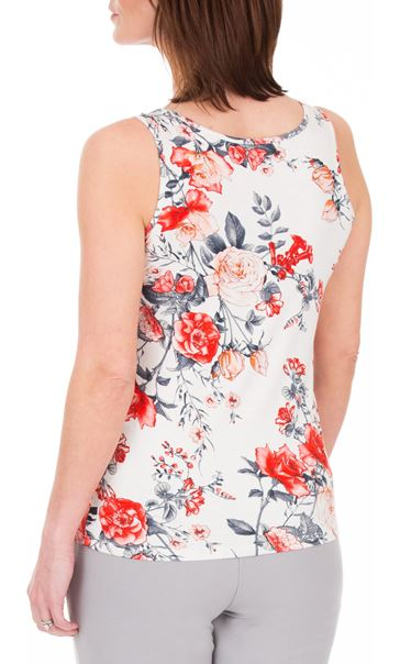 Anna Rose Floral Print Vest White/Red - Gallery Image 2
