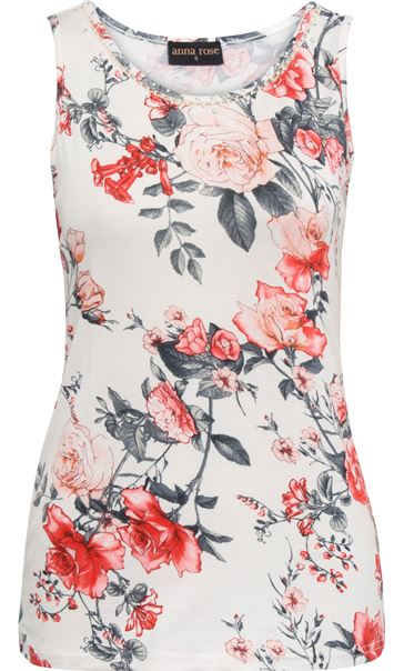 Anna Rose Floral Print Vest White/Red - Gallery Image 4