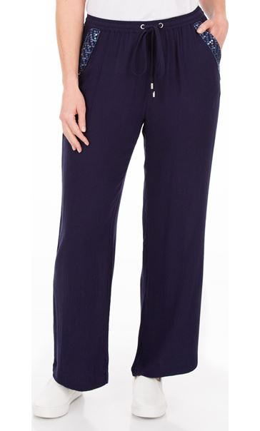 Anna Rose Embellished Wide leg Trousers Navy