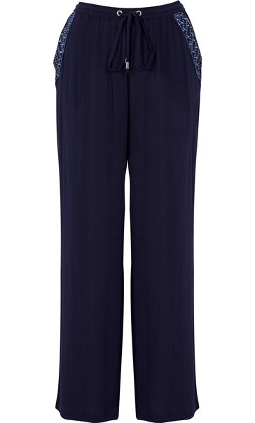 Anna Rose Embellished Wide leg Trousers Navy - Gallery Image 3